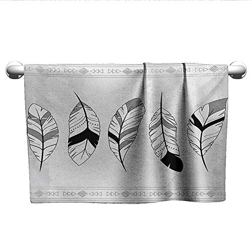 Bensonsve Pattern Hand Towels Feather,Stylized Doodle Borders with Triangle Motifs Artistic Bohemian Western,Black White Pale Grey,Rustic Towel Racks for Bathroom