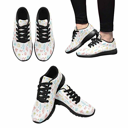 InterestPrint Womens Jogging Running Sneaker Lightweight Go Easy Walking Comfort Sports Athletic Shoes Summer Time Theme Multi 1 Vo3XZa7