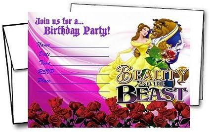 Amazon.com: 12 Belleza y la Bestia Cumpleaños Tarjetas de ...