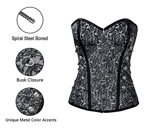 Charmian Women's Spiral Steel Boned Steampunk Gothic Bustier corsé with Chains Gris