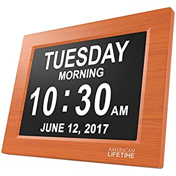 [Newest Version] Day Clock - Extra Large Impaired Vision Digital Clock with Battery Backup & 5 Alarm Options (Brown Wood Color)