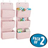 mDesign Soft Fabric Over the Door Hanging Storage Organizer with 3 Large Pockets for Child/Kids Room or Nursery - Fun Polka Dot Pattern, Hooks Included, Light Pink with White Dots, Pack of 2
