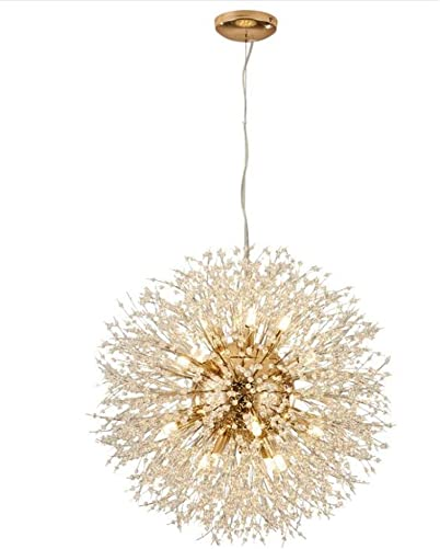 LuKLoy Super Beautiful Chandelier Pendant Lamp Kitchen Island Dining Room Loft Firework Hanging Light Post Modern Dandelion Crystal LED Lighting Fixture Cold White LED
