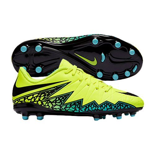 NIKE Kids Jr Hypervenom Phelon II FG Volt/Black/Hyper Turq/Clr Jade Soccer Cleat 4.5 Kids US