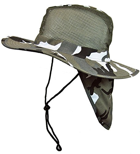 (Cool Mesh Military Camouflage Boonie Bush Safari Outdoor Fishing Hiking Hunting Boating Brim Hat Sun Cap with Neck Flap (City Camo, L))