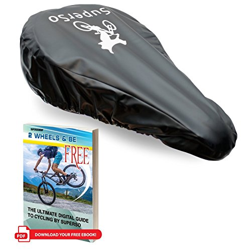 SuperSo Waterproof Bike Seat Rain Elastic Cover + Complimentary Cyclist eBook (1-Pack Black (Seat Rain Cover)