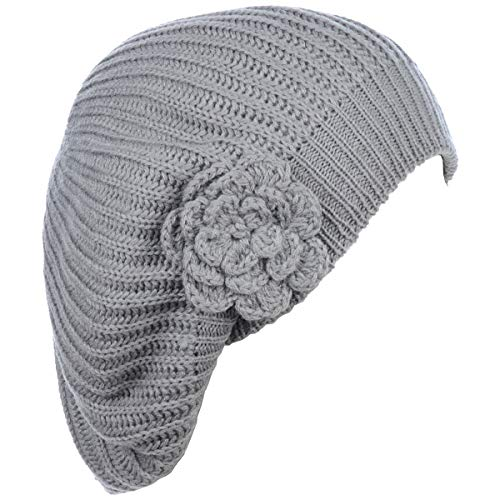 an - Womens Fall Winter Ribbed Knit Beret Double Layers with Flower (Light Grey)