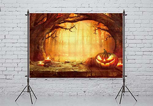 Allenjoy 7x5ft Halloween Theme Photography Backdrop Pumpkin Wood Floor Forest Background Decoration Photo Studio Props