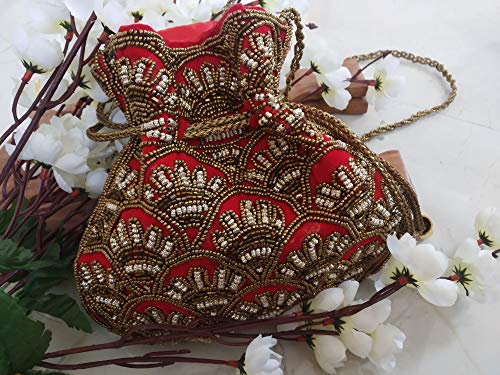 (Red Gold Potli Bag Indian Shoulder Bag| Gold Ivory Batua/saree batwa/saree purse/drawstring bag/embroidered pouch/jewelry pouch)