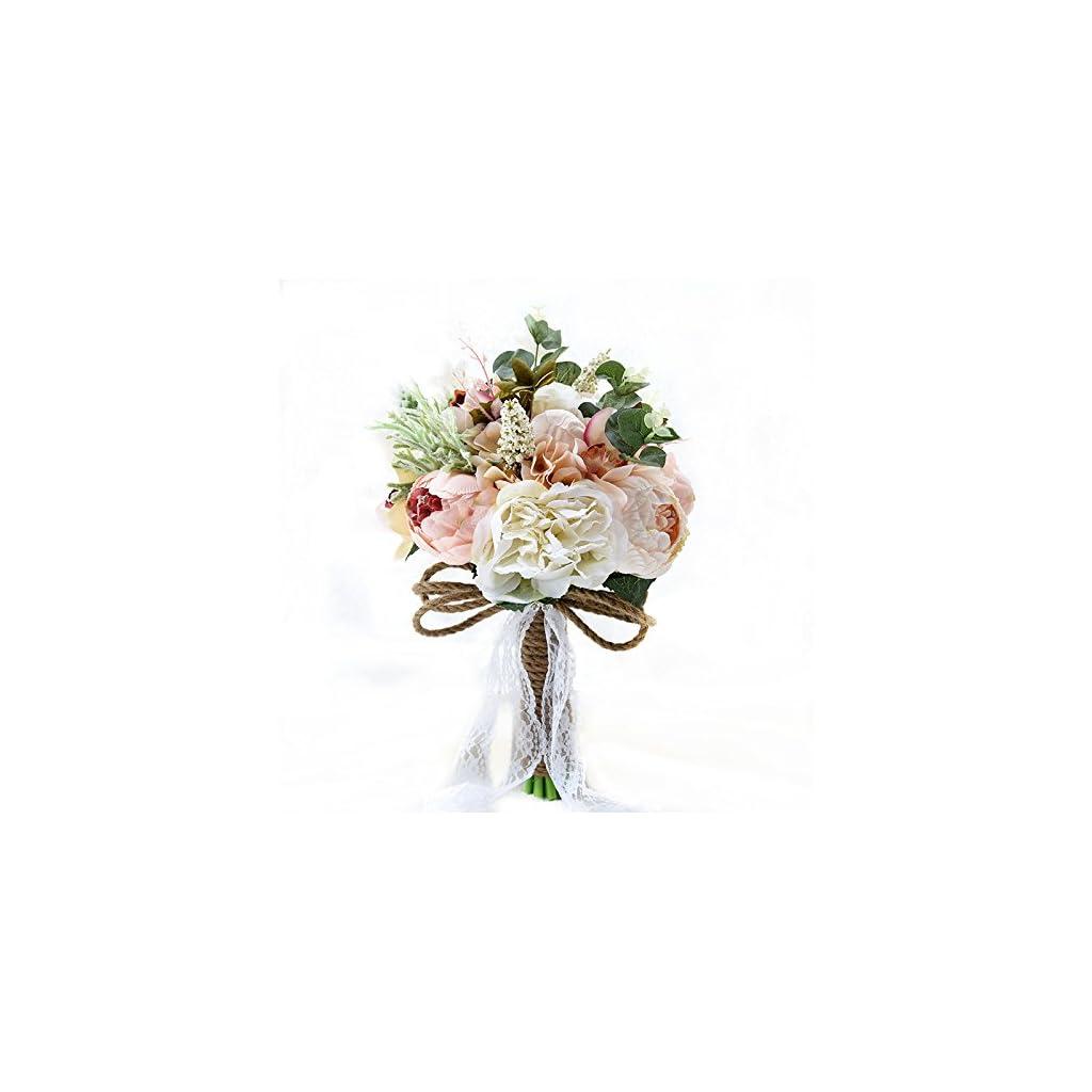 Abbie Home 5pcs Wedding Bouquet Kit - Artificial Roses Peony Lily Bridal Flowers Wrist Corsage Boutonnier Set