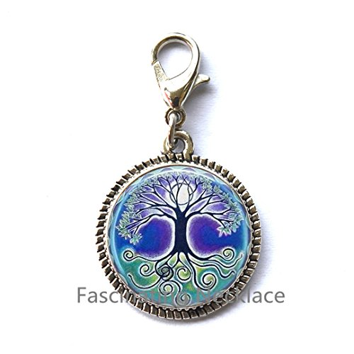 Pull Full Moon Blue and Green Art Charming Zipper Pull in Bronze or Silver with Link Chain Included,,AQ101 ()