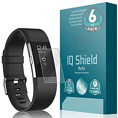 Fitbit Charge 2 Screen Protector (6-Pack), IQ Shield Matte Full Coverage Anti-Glare Screen Protector for Fitbit Charge 2 Bubble-Free Film - with