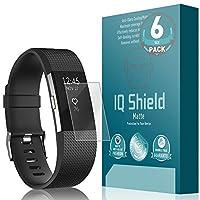 Protector de pantalla Fitbit Charge 2 (paquete de 6), protector de pantalla antirreflejo mate de cobertura total IQ Shield para Fitbit Charge 2 película sin burbujas - con