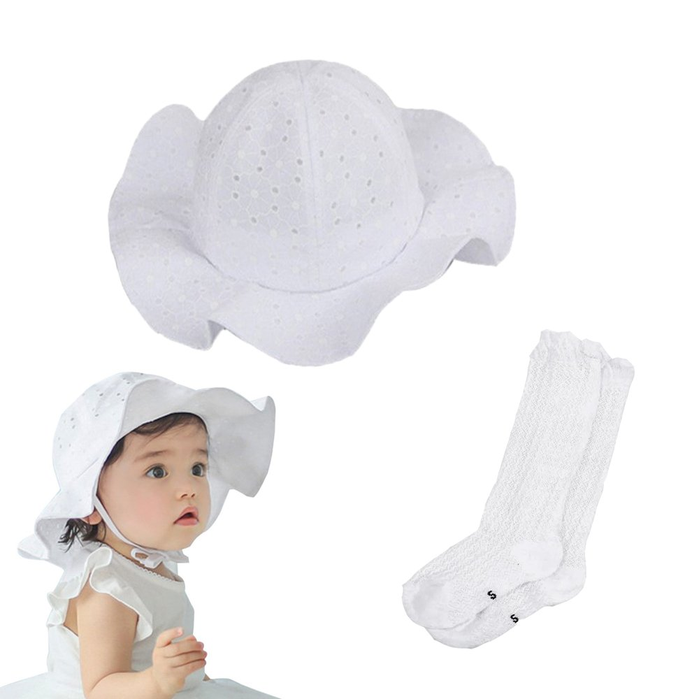 Nara Baby Kin Toddler Sun Hat White Baby Girls Cute Floral Hollow Large Wide Brimmed Cotton Sun Protection Hat (White)