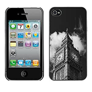 Paccase / SLIM PC / Aliminium Casa Carcasa Funda Case Cover - Architecture Big Ben Close Up London - Apple Iphone 4 / 4S