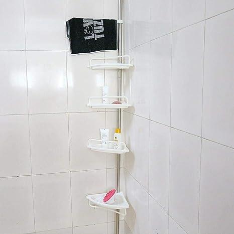 Estink Bathroom Corner Caddy 4 Tier Adjustable Tension Corner Pole Caddy 20kg 44lbs Load Telescopic Shower Corner Shelf For Bathroom Shower Cubicle Bathtub Corner Toilet Shelf Holder Organizer Home Kitchen