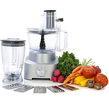 Vremi Food Processor and Blender with 5 Multi-Function Blades; 800 Watt, 2 Speed, includes 6.5 Cup Pitcher and 14 Cup Blender Bowl