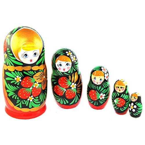 Gabriella's Gifts Authentic Russian Hand Painted Handmade Nesting Dolls Set of 5 Pcs Artist Signed Matryoshkas 5.5