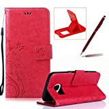 Wallet Leather Case for Galaxy S7,Book Style Pu Leather Case for Galaxy S7,Herzzer Retro Butterfly Flower Pattern Flip Fold Pouch Case with Card Holders Stand Magnetic Case