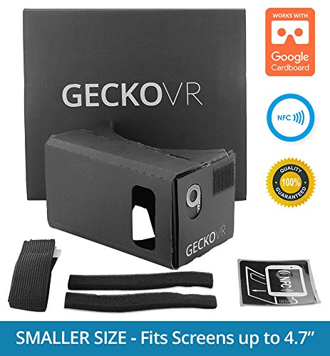 GECKO VR - Premium iPhone & Android Virtual Reality Kit w/ Extra Padding and Headstrap - Turn your phone into a virutal reality headset - Inspired by Google Cardboard and Oculus Rift