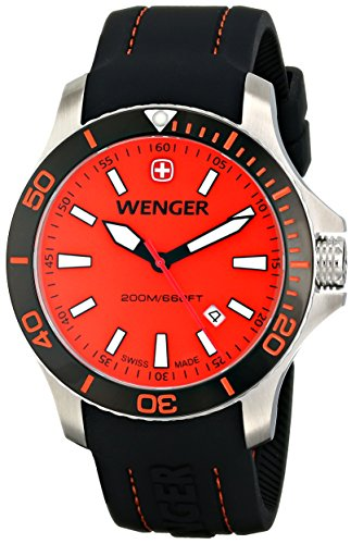 - Wenger Men's 01.0641.111 Sea Force 3H Stainless Steel Watch with Black Silicone Band
