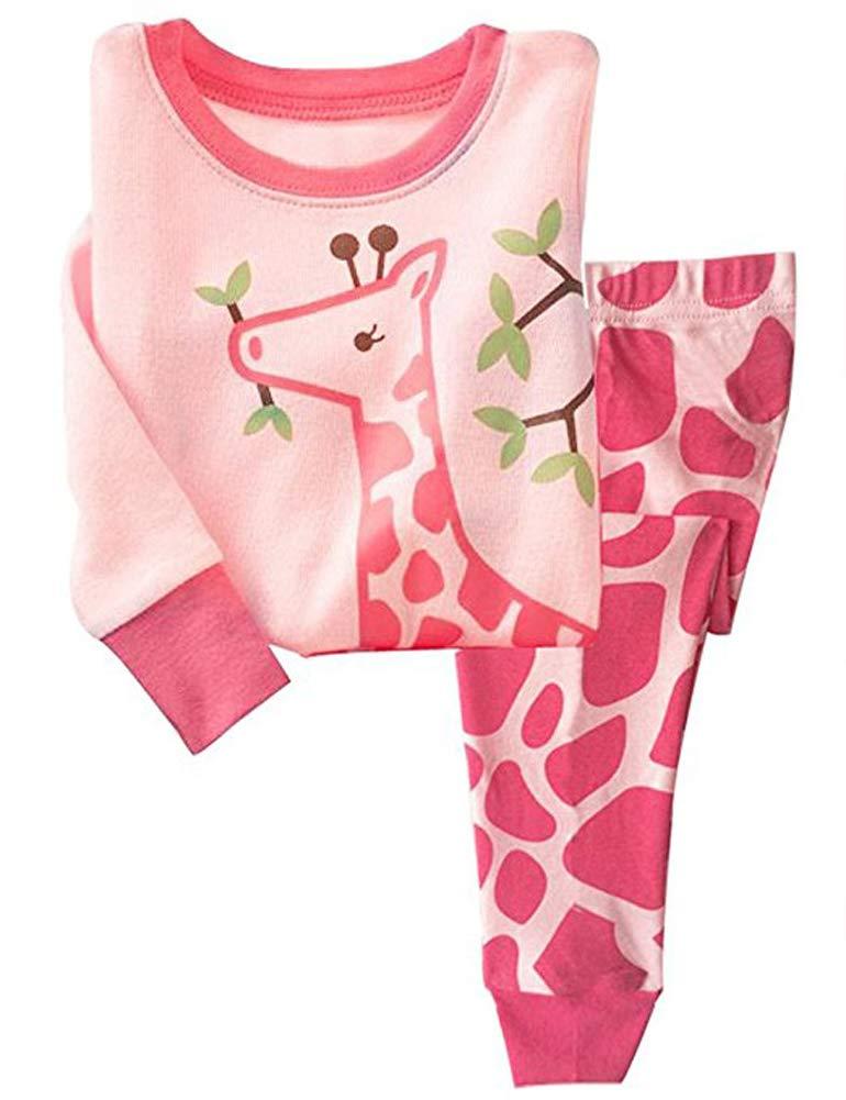 Girls Long Sleeve Pajamas, Children 100% Cotton Animal Pjs Set 2 Piece Sleepwear Pink 3-4T