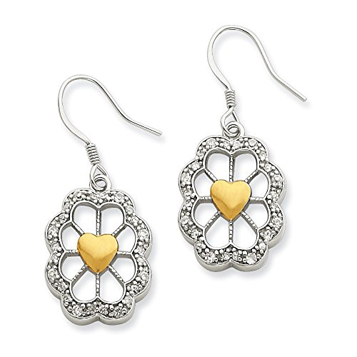 Jewelry Themed Earrings Sterling Silver and Vermeil Oval Floral Heart CZ Earrings ()