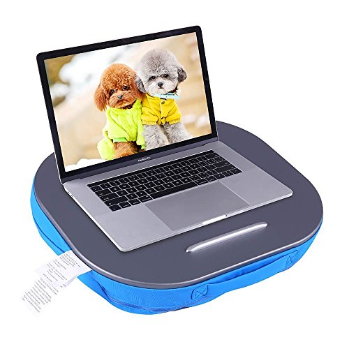 Lap Desk Multi-Function Knee Pad for Laptop MacBook iPad Tablet Comfortable Cushion- Round (Blue, 16x4x14inch) by LIMAM