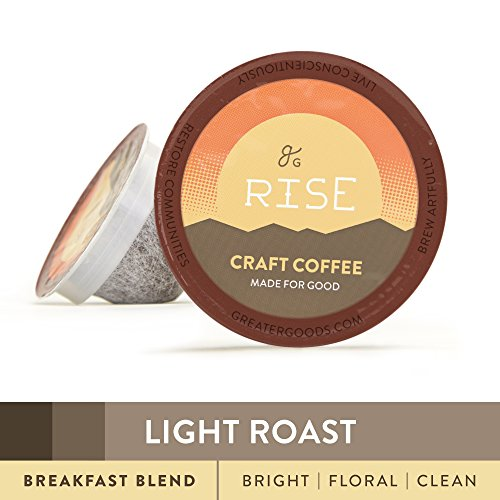 Specialty Degree Coffee For Keurig K-Cup Brewers: 72-Count Light Roast Breakfast Blend. 1.0 and 2.0 Compatible. Premium Standing, Eco-Friendly 100% Arabica Single-Serve Coffee by Greater Goods