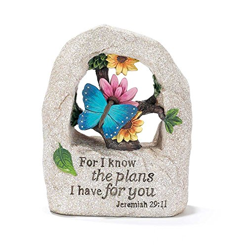 For I Know The Plans I Have For You Jeremiah 29 11 Blue Butterfly Resin Stone Figurine Home