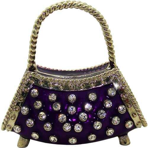 Objet D'Art Release 330 Le Rive Gauche Ladies Purple Handbag Handmade Jeweled Enameled Metal Trinket Box