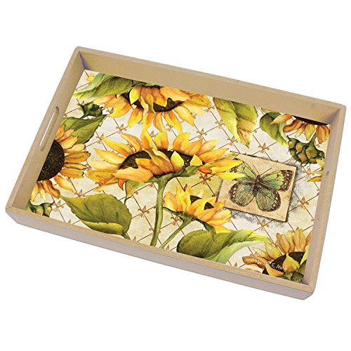 (CounterArt 18-Inch Wooden Butler-Style Tray, Sunflowers in Bloom)