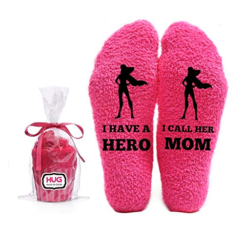 I Have a Hero Mom Funny Socks - Pink Fuzzy Novelty Cupcake Packaging for Her - Birthday Gifts for Women, Mom, Wife, Sister, Friend - 1 Pair Christmas Stocking Stuffer