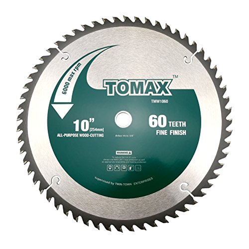 TOMAX 10-Inch 60 Tooth ATB Fine Finish Saw Blade with 5/8-Inch Arbor 40 Carbide Teeth Circular Saw