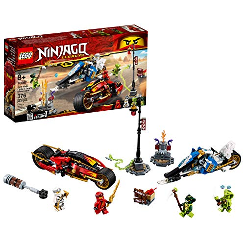 LEGO NINJAGO Legacy Kai's Blade Cycle & Zane's Snowmobile 70667 Building Kit (376 -