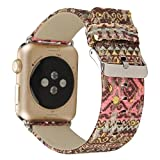 KOBWA For Apple Watch Band, 38mm Fashion Exotic Style Silk Genuine Leather Strap Replacement Wristband for Apple Watch Series 2, Series 1, Sport , Edition