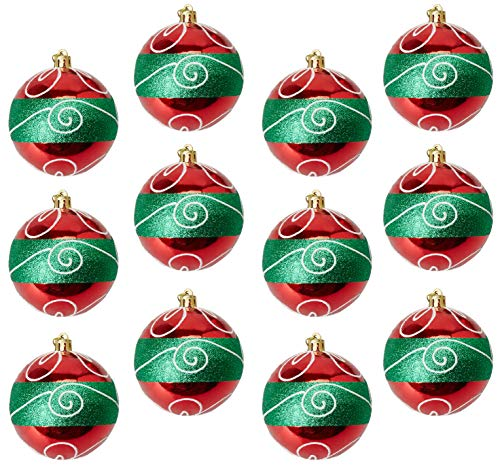 Juvale 12-Pack Christmas Tree Ornaments - Red and Green Shatterproof Large Christmas Balls Decoration, Classic Holiday Design with Glitter, Hanging Plastic Bauble Decor, 2.9 Inches -