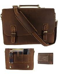 Mens RFID Leather Messenger Bag / 16 Inch Laptop Briefcase Shoulder Satchel Bag / RFID Money Clip Included