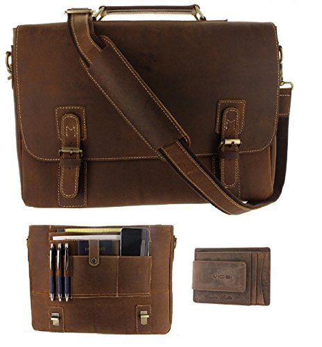 Viosi Mens RFID Leather Messenger Bag / 16 Inch Laptop Briefcase Shoulder Satchel Bag / RFID Money Clip Included