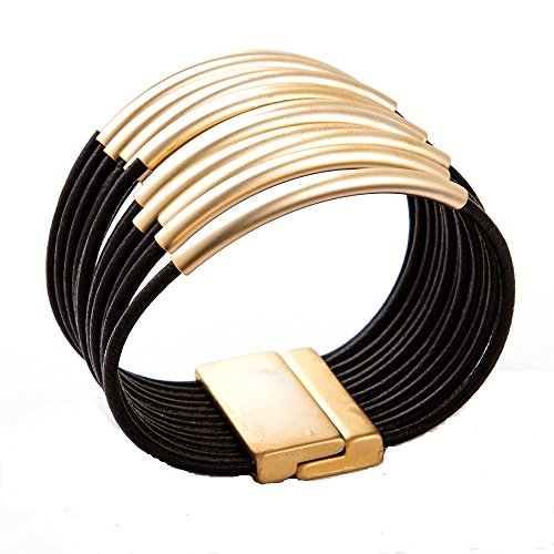 Erin Leather (Trades by Haim Shahar Erin Leather Bracelet handmade in Spain magnetic closure 14k gold plated)