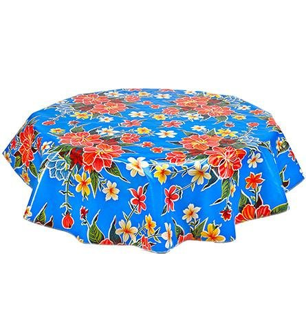 Round Freckled Sage Oilcloth Tablecloth in Hawaii Blue - You Pick the Size! by Freckled Sage Oilcloth Products