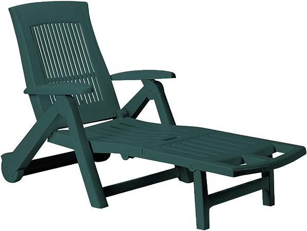 Casaria Chaise Longue Zircone Pliable Vert Plastique PVC Dossier réglable 5 Positions 2 Roues Bain de Soleil Jardin terrasse extérieur