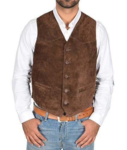 A1 FASHION GOODS Mens Real Suede Waistcoat Classic Style Soft Brown Suede Leather Vest Gilet - Cole - Fully Leather Lined Vest