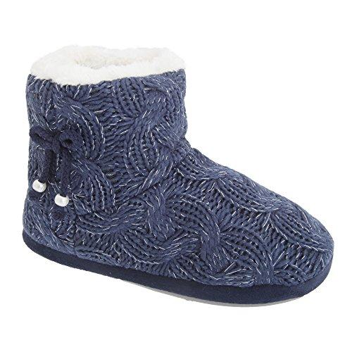 Universal Textiles Damen Strickstiefel mit Kunstfell-Innenfutter Marineblau