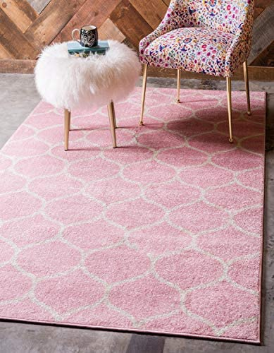 Unique Loom Trellis Frieze Collection Lattice Moroccan Geometric Modern Pink Area Rug (4' 0 x 6' 0)