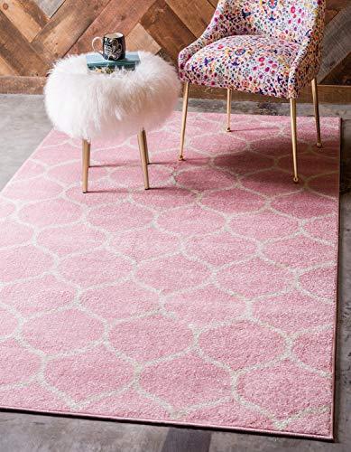 Unique Loom Trellis Frieze Collection Lattice Moroccan Geometric Modern Pink Area Rug (6' 0 x 9' 0)