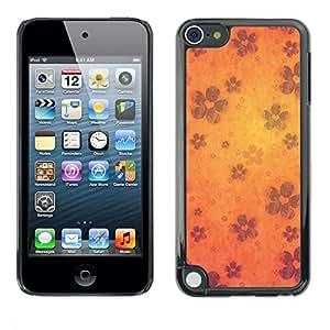 Caucho caso de Shell duro de la cubierta de accesorios de protección BY RAYDREAMMM - Apple iPod Touch 5 - Wallpaper Flowers Blossom Bloom Orange