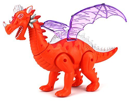 Dinosaur World Winged Dragon Battery Operated Walking Toy Dinosaur Figure w/ Light Projection, Realistic Movement, Lights and Sounds (Colors May Vary)