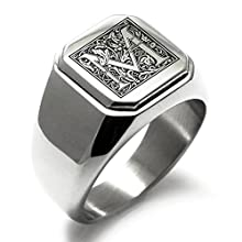 Stainless Steel Floral Monogram with Letter M Biker Style Ring
