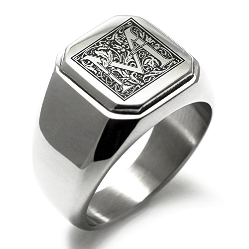 Stainless Steel Letter M Alphabet Initial Floral Monogram Engraved Square Flat Top Biker Style Polished Ring, Size 9 by Tioneer